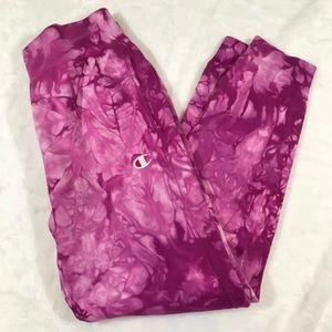NWT CHAMPION tie dye pink joggers pants scrunch